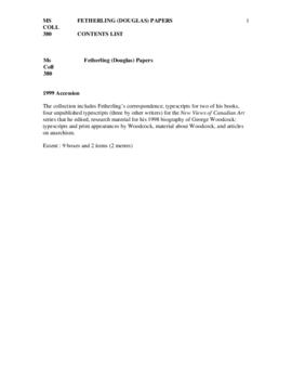 Douglas Fetherling Papers