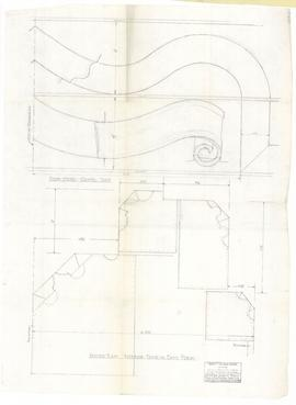 Interior door, east porch, plan and elevation of head, Chapel side. - 15 March 1954 (308B)