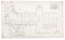 Plan of Library under Chapel, 14 January 1954; rev. 25 January 1954; rev. 22 October 1954; rev. 1...