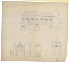 Proposed Chapel: long elevation (east) showing porch, end elevation, cross section thro' transepts showing apse, interior of east transept showing entrance (149-2)