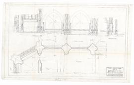 Plan of sanctuary and sections showing steps and base. - 3 September 1953 [pencil on tissue]