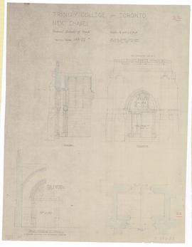"New Chapel: revised details of porch. - scale 1/2"" = 1'-0"". - July 1952 (149-22)"