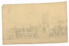 Elevation - east elevation, east end of Chapel, sketch suggestion of east of residences, north of Chapel