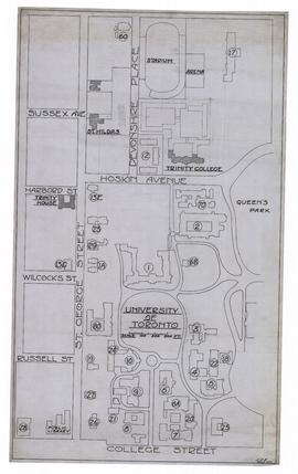 Plan Showing Part of University of Toronto Grounds bounded by College, Huron, Bloor and University