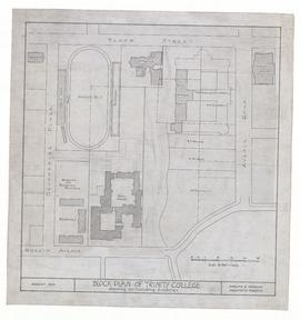 Block Plan of [Proposed] Trinity College showing surrounding buildings (ink on linen)