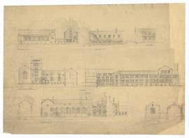 Elevations - east elevation showing convocation hall, section through quad looking west, elevation looking towards tower and student's entrance, elevation to Hoskin Avenue