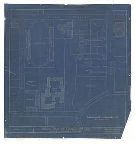 Block Plan of [Proposed] Trinity College showing surrounding buildings (blueprint)