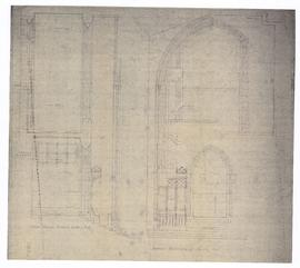 Interior Elevation of North End; section through narthex looking east (two copies) (149-12a)