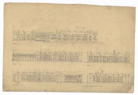 Elevations - west elevation, east elevation, north elevation, section looking east, section throu...