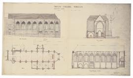 Proposed Chapel: plan, side elevation, longitudinal section, cross section (149-1b)