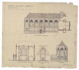 Proposed Chapel: long elevation (east) showing porch, end elevation, cross section thro' transepts showing apse, interior east transept showing entrance (149-2b)
