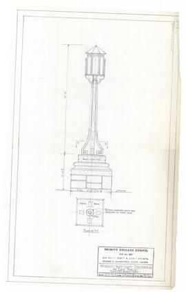 Wrought iron light standards by east porch, two required. - 2 March 1955 [pencil on tissue] (232)