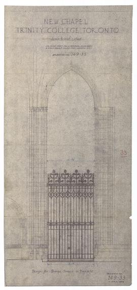New Chapel: design for bronze screen in transept (two copies) (149-33)