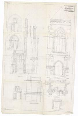 Details of porch & east transept. - March 1953. - rev. 31 August 1953 [pencil on tissue] (207)