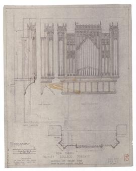 New Chapel: details of organ case (also marked G&M, Dwg No. 225, 21 December 1954) (149-40)