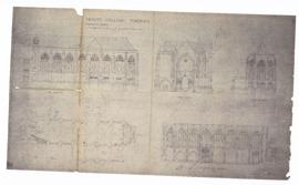Proposed Chapel: plan, side elevation, end elevation, longitudinal section, cross section (149-1)