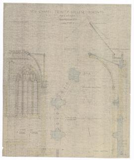 New Chapel: cross section, plan of apse & normal bay; normal bay external elevation, internal elevation (149-4)