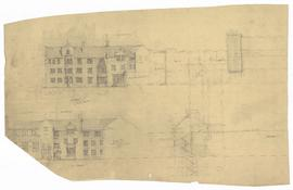 Elevations - east elevation of west wing of north quad
