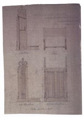 Design for kneelers in sanctuary (149-46b)