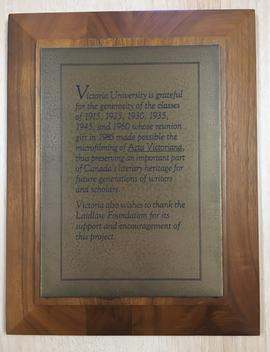 Plaque for microfilming of Acta Victoriana