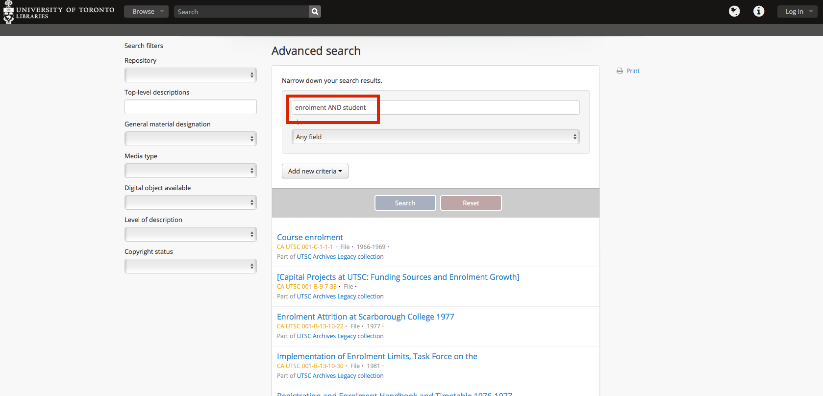 Advanced Search AND